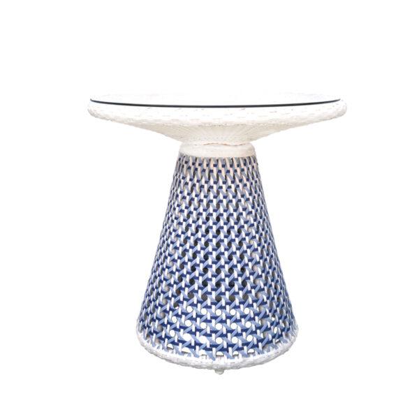 A068D Mushroom coffee table CRISTAL 7 MM FLAT WIKER SHELL BLUE 800X800 2