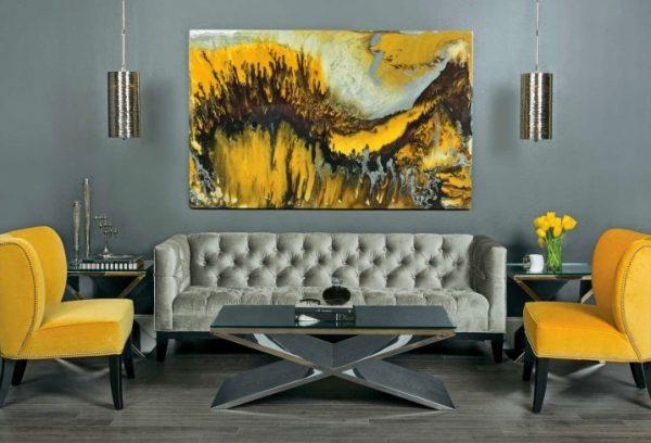 ideas para una sala de estar elegante en gris y amarillo 10 e1475592862859
